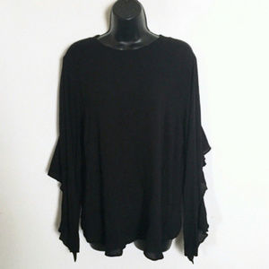 Express Top Black High Low Crop Keyhole Flare M